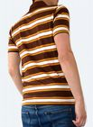 Striped Polo Tee - Button up T Shirt - Brown & Yellow
